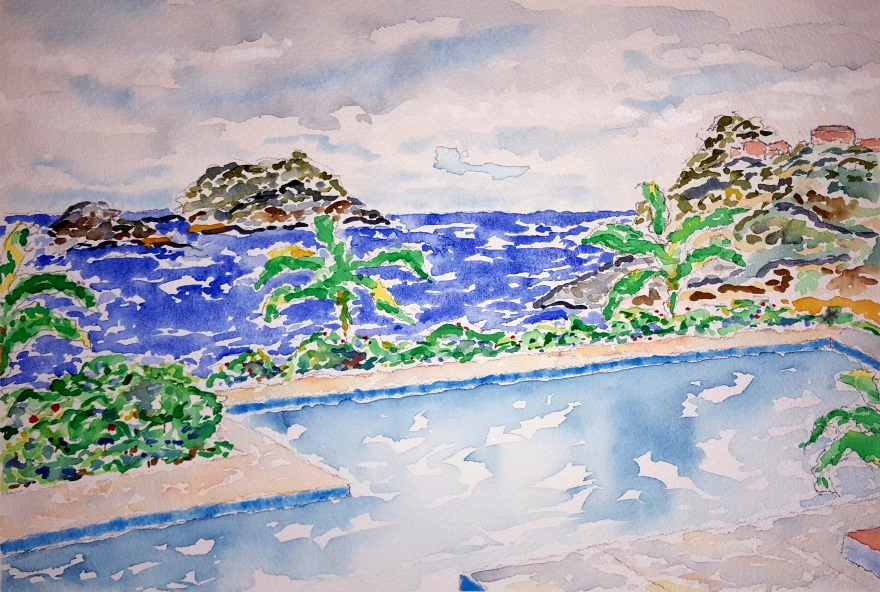Pacific Pool ~ Watercolor by John Klobucher