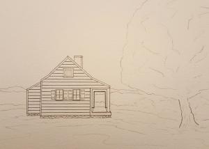 Saratoga Farmhouse ~ Sketch by John Klobucher