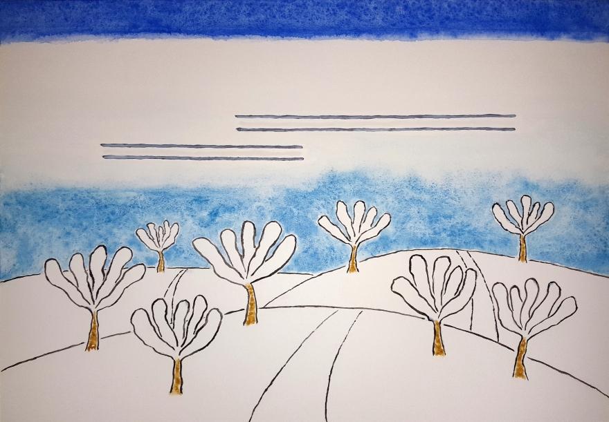 Snowy Orchard ~ Watercolor by John Klobucher