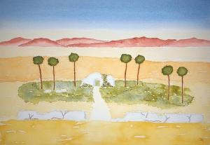 Oasis of Lore ~ Watercolor by John Klobucher